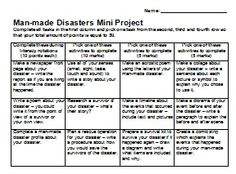 Man-Made Disasters Activity Rubric - This rubric is designed to tie in with a unit on Natural and Man-made Disasters.  Students select from a range of tasks that cater for a variety of learning styles!  Each task earns students points and must complete a certain amount of tasks to complete the rubric.