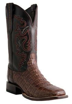 Mens Lucchese Brown Sienna Crocodile Tail Belly Cowboy Boots