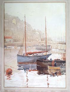 Watercolour Painting Sail Boats Brixham Harbour Devon William Atherton Cathcart