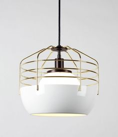 gold and ceramic pendant lamp