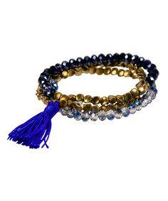 Another great find on #zulily! Blue & Goldtone Beaded Tassel Stretch Bracelet Set #zulilyfinds