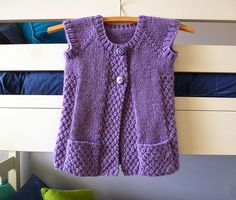 Ravelry: Project Gallery for # 106 Girls Cap Sleeve Cardigan Vest pattern by…