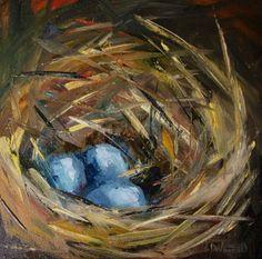 EGG+NEST+ART+OIL+PAINTING+ROBIN+BLUE+DIANE+WHITEHEAD,+painting+by+artist+Diane+Whitehead
