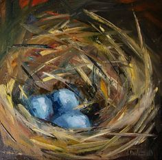 EGG+NEST+ART+OIL+PAINTING+ROBIN+BLUE+DIANE+WHITEHEAD,+painting+by+artist+Diane+Whitehead