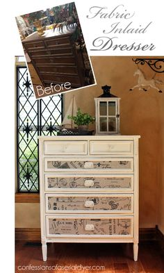 Thrift store dresser gets updated with paint and fabric!
