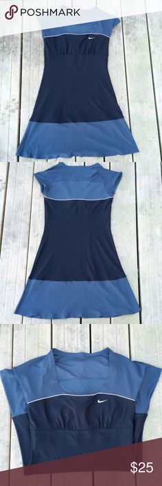 Nike DriFit tennis/sporty dress size S. This is a black and grey Nike DriFit tennis/ workout dress with cap sleeves. Mesh panel on back to keep you cooler. Scoop neckline. Super cute and flattering in very good used condition. No holes or stains. Seams are intact and no snags. Nike Dresses