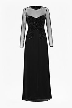 "<ul> <li> Sequin detail maxi dress</li> <li> Stretch cotton fabric with sheer mesh detail and heavily encrusted sequin panels</li> <li> Long semi-sheer mesh sleeves</li> <li> Sweetheart neckline sequin bodice detail</li> <li> Invisible centre back zip with hook and eye clasp</li> <li> Cut-out detail at back of skirt</li> <li> UK size 10 length is 150.5cm</li> </ul>  <strong>Our model is 5ft 9"" and is wearing a UK size 10.</strong>"