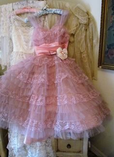 1950's Raspberry Pink Ruffled Prom Dress With Shelf Bust And Flower Pin Size Small