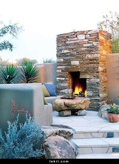 Fire place and sitting area! Love this for outside!