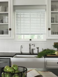 Wood blinds...nice option for the kitchen window