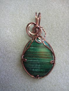 wire wrapped stones   Stone wire wrapped Pendant necklace w Antique Copper nontarnish wire ...