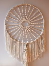 natural twine fringed dream catcher inspired by mid-century modern - made by Ouchflower blog