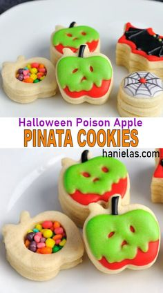 Decorated sugar pinata cookies on a plate showing the candies hidden inside of pinata cookies. Pinata Cookies, Fun Cookies, Decorated Cookies, Halloween Snacks, Halloween Cookies, Halloween Party, Royal Icing Cookies Recipe, Apple Cookies, Poison Apples