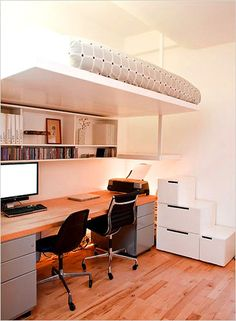 """Crating"" your kids… Loft bed over desk, with stairway made of file cabinets! Small Room Decor, Small Room Design, Decorating Small Spaces, Small Rooms, Home Office Bedroom, Bedroom Loft, Home Decor Bedroom, Bedroom Ideas, Small Bedroom Furniture"