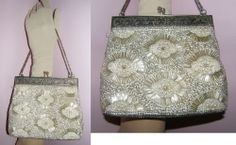 vintage purse glass beads f pearls rhinestone lovely  75$