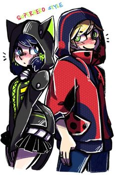 Marinette and Adrien. Cute hoodies! (Miraculous Ladybug)