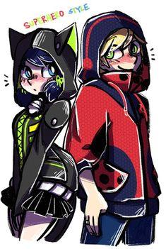 Marinette and Adrien. Cute hoodies! (Miraculous Ladybug)