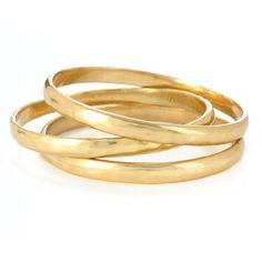 Kenneth Cole New York Gold-Tone Hammered Bangle Bracelet Set ($48) ❤ liked on Polyvore
