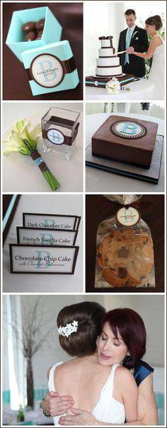 Tiffany blue wedding. I really like the idea of making the escort cards match the dessert labels here!