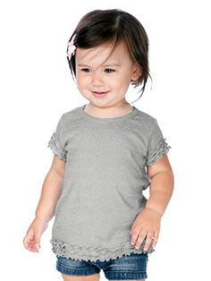 Kavio Infants Crew Neck Lettuce Edge Short Sleeve Heather Gray 12M -- Check this awesome product by going to the link at the image. (This is an affiliate link) #BabyGirlTops