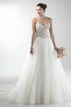 Figure-Flattering Natural Sleeveless Beading Floor-Length Bridal Wedding Dress