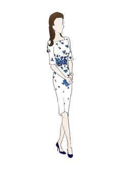 "Royal Tour Australia Duchess of Cambridge Kate Middleton Fashion Print 8.5""x11"" LK Bennett Lasa Dress"