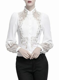 9b49b088443702 MissLook Women's Balloon Sleeve Embroidered Pleated Buttoned Down Blouse -  White S