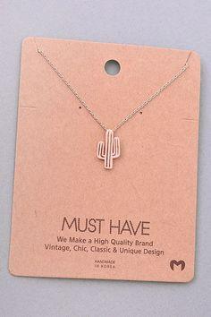Cactus Pendant Necklace - Rose Gold