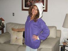 Purple hooded Cardigan, Alpaca wool