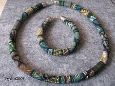 Bead crochet bracelet and necklace.Toho 15/0