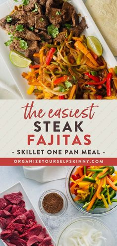 The Easiest Steak Fajitas | One Pan Dinner Recipes - Looking for a high-protein, healthy dinner that can be put together in minutes? Look no further than this recipe for skillet steak fajitas! This healthy dinner recipe is full of flavor and can easily be prepped ahead of time so dinner can come together even faster and is a meal the whole family will enjoy. Organize Yourself Skinny | One Pan Recipes | Quick and Easy Dinner Recipes | Healthy Dinner Recipe #dinnerrecipe #Onepanmeal #mealprep One Pan Dinner Recipes, Healthy Dinner Recipes, Mexican Food Recipes, Weeknight Recipes, Skinny Recipes, Summer Recipes, Delicious Recipes, Healthy Food, Easy Steak Fajitas