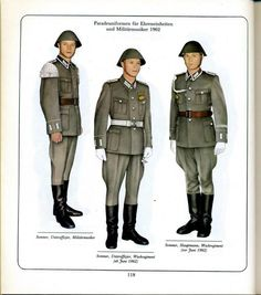 1962 East German Army (NVA) officers and enlisted servicemen's summer parade dress uniforms.