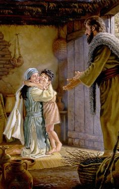 """A widow joyfully receiving her resurrected son from the prophet Elijah-""""See, your son is alive""""!"""