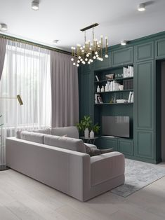 Pink, gray and green tones are the winning formula for the rich and stylish design of this three-dimensional living space. Interior, Apartment Design, Living Room Modern, Apartment Living Room, Trendy Living Rooms, Minimal House Design, Interior Design, Living Room Designs, Modern Apartment Living Room