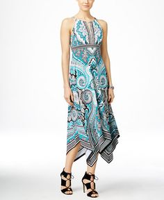 INC International Concepts Printed Keyhole Maxi Dress, Only at Macy's