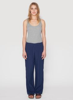 Johnny Was Clothing JWLA Linen Palazzo Pant in Navy Blue