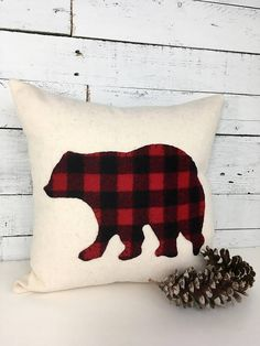 The Woodland Buffalo Plaid Bear Christmas Pillow is a great accent pillow for your couch, chair or bed this holiday season! If you want rustic, buffalo plaid, this is it! Cabin Christmas, Woodland Christmas, Christmas Sewing, Christmas Pillow, Plaid Christmas, Christmas Fashion, Rustic Christmas, Diy Pillows, Custom Pillows