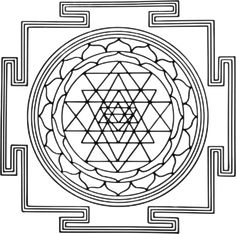 Mandala traditional structure - A diagramic drawing of the Sri Yantra, showing the outside square, with four T-shaped gates, and the central circle Sri Yantra, Ganesh Yantra, Ganesha, Mantra Diario, Yantra Tattoo, Science Symbols, Chaos Magic, Buddhist Meditation, Tantra