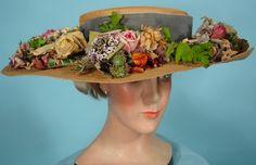 c. 1910-1920 ~ Natural Straw Hat with Abundance of Original Silk Flowers & Soft Blue Velvet Ribbon. LESPIAUT. DESSUS SUC., 20 Rue de la Paix, PARIS