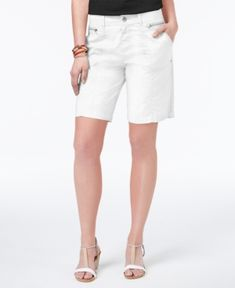 Style & Co Zippered-Pocket Shorts, Only at Macy's - White 16