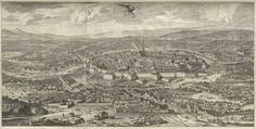 Folbert van Ouden-Allen, Vogelperspektive von Wien aus Blickrichtung Westen, vor 1683/86, Kupferstich © Wien Museum Bansky, Museum, Old Maps, At A Glance, Vienna, City Photo, Vintage World Maps, Birds, Birds Eye View