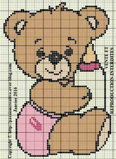 punto de cruz diagrama oso con tetero rosa