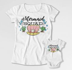 Mom And Daughter Matching Outfits Mother Daughter T Shirt Mommy and  Daughter Shirts Mom And Baby TShirts Mermaid Squad Bodysuit FAT-812 507e748af