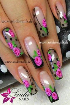 Sheer black nails with roses Fabulous Nails, Perfect Nails, Gorgeous Nails, Rose Nails, Flower Nails, Fingernail Designs, Nail Art Designs, Nail Art Fleur, Nailart