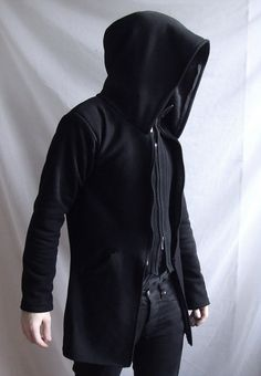 Demon Hoodie ( mens coat or suit like hoodie  with large hood and besom pockets )