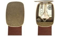 Awesome! Secret Compartment Buckle Fine Leather Belt. In AntiqueBrass Finish with Brown Leather.
