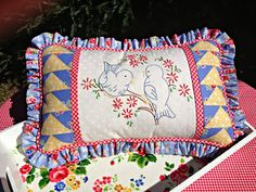 My Sew Sweet Studio...Pillow for my little blue trailer. Pam Kitty Morning fabric