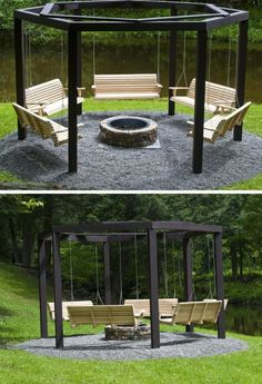 14 Outdoor Fire Pit Ideas that Will Transform Your Backyard G. - 14 Outdoor Fire Pit Ideas that Will Transform Your Backyard Get These Top Trendi - Backyard Patio Designs, Backyard Projects, Backyard Landscaping, Backyard Seating, Outdoor Seating, Outdoor Projects, Fire Pit Seating, Fire Pit Area, Rustic Backyard