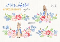 Ad: Mr Rabbit - watercolor clipart by helloPAPER on This set of 22 watercolor clipart elements for graphic for greeting cards, photography, wedding cards, paper creations and more. Peter Rabbit Birthday, Peter Rabbit Party, Art Clipart, Coelho Peter, Collages, Rabbit Png, Rabbit Clipart, Lapin Art, Beatrix Potter Illustrations