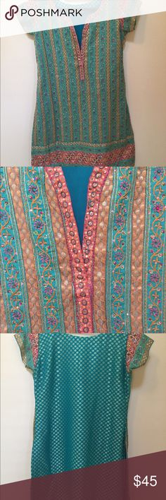 Indian Salwar Kameez Indian Salwar Kameez.  Embroidery in the front and woven gold polka dots on georgette fabric.  Salwar has drawstring wich makes it flexible to wear.  It looks like new as it has been worn only couple of times. Jabani Other